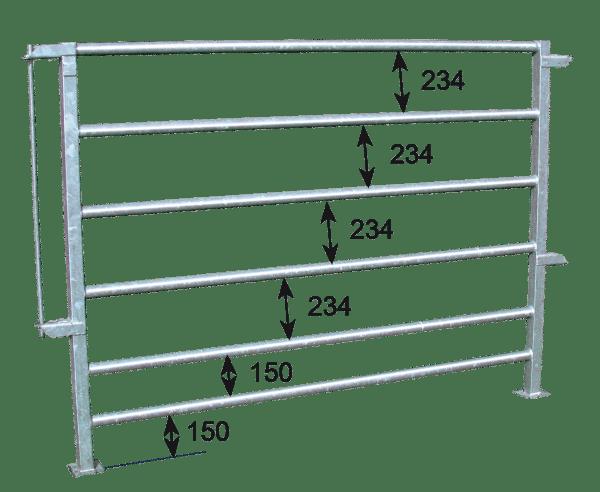 Espacement des tubes barrière contention